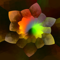 Abstract Colorful Flower Fractal Background - Creative Geometric