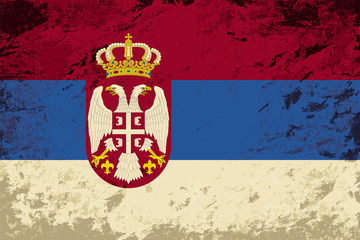 Serbian flag. Grunge background. Vector illustration