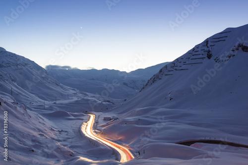 canvas print picture Lichtspuren im Gebirge