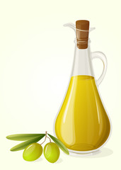 Olive oil and  branch of olives