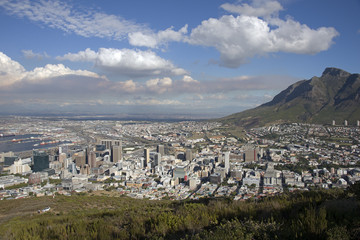 City centre Cape Town below Table Mountain South Africa