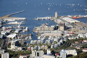 Cape Town Waterfront harbour and Table Bay South Africa