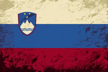 Slovenian flag. Grunge background. Vector illustration