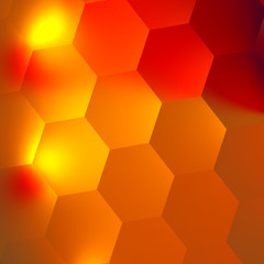 Orange Red Abstract Hexagons Background - Bright Light Effect