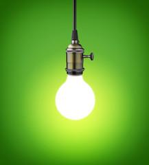 Vintage light bulb on green background