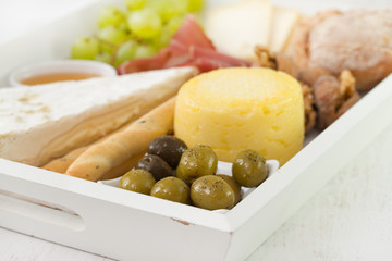 cheese with olives and prosciutto