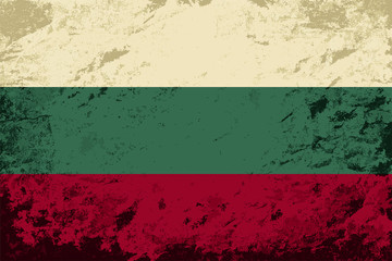 Bulgarian flag. Grunge background. Vector illustration