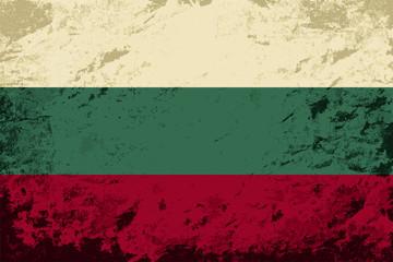 Bulgarian flag. Grunge background. Vector illustration