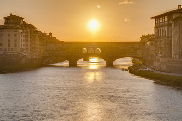 The Ponte Vecchio (Old Bridge) in Florence, Italy.