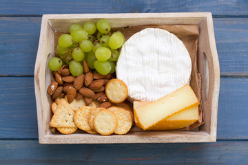 cookies with cheese, grapes and nuts