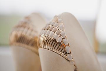 Close up of elegant and stylish bridal shoes