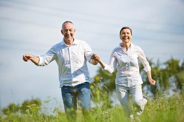 Paar Senioren läuft über Wiese