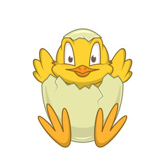 Chicken in egg. Cheerful cute character.