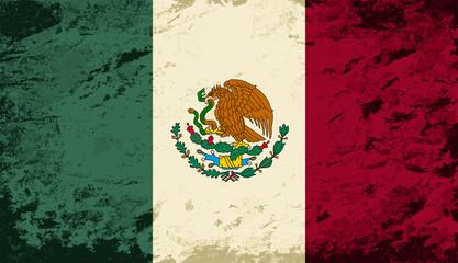 Mexican flag. Grunge background. Vector illustration