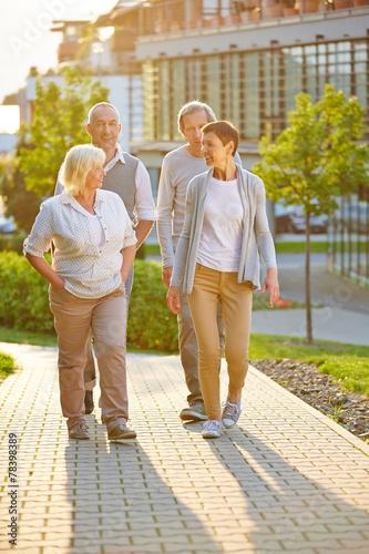 canvas print picture Gruppe Senioren macht Spaziergang im Sommer
