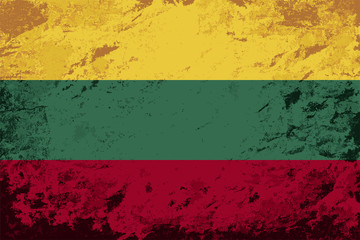 Lithuanian flag. Grunge background. Vector illustration