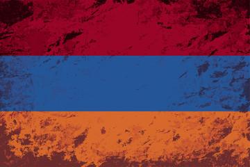 Armenian flag. Grunge background. Vector illustration