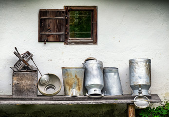 old milk canisters