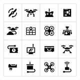 Set icons of quadrocopter, hexacopter, multicopter and drone poster