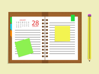 Diary calendar appointment book schedule pencil
