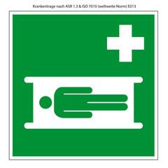 Krankentrage Schild Vorlage nach ASR und ISO