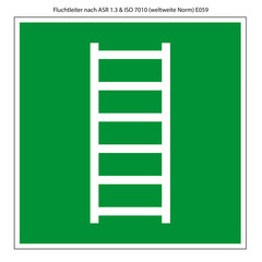 Fluchtleiter Schild Vorlage nach ASR 1.3 und ISO 7010