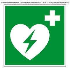 Difibrilator, AED Vorlage Schild nach ASR 1.3 und Din 7010