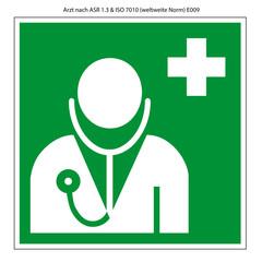 Arzt Schild Vorlage nach ASR 1.3 und DIN 7010