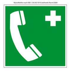 Notruftelefon Schild Vorlage nach ASR 1.3 und DIN 7010
