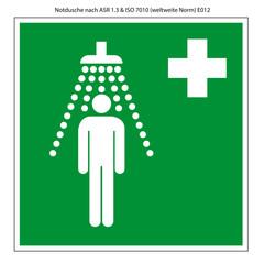 Notdusche Vorlage Schild nach ASR 1.3 und DIN 7010