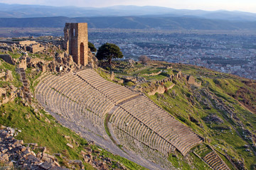 the ancient theater in the ancient city of Pergamon, Turkey
