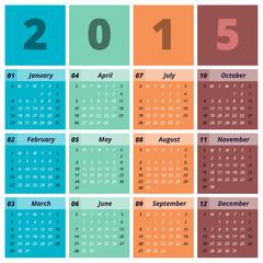 2015 Favor Color Stylish Calendar Start Monday With Symbols