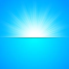 Blue sun rays, cool winter background