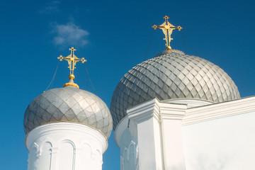 White orthodox church in the city park in Kharkov