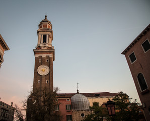 clock tower venice sunrise