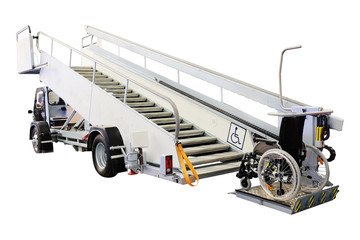 Airfield self-propelled passenger ladder for wheelchairs