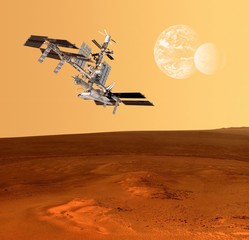 Spaceship Station Mars Planet