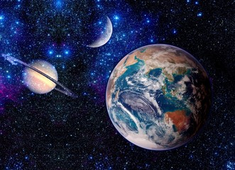 Fantasy Space Earth Planets