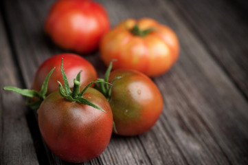 Fresh tomatoes on wooden background