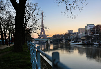 View on Eiffel Tower in the morning, Paris, France
