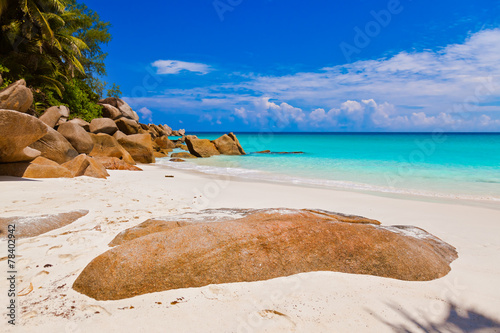 canvas print picture Beach Georgette at island Praslin - Seychelles