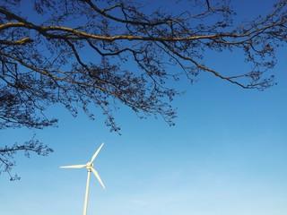 Windrad mit Ast vom Baum