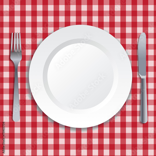 Realistic plate, fork and knife. Vector art. - 78403754