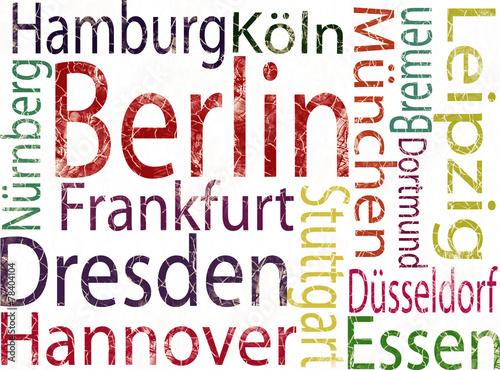 Naklejka deutsche Großstädte grunge