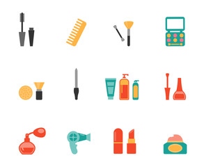 Hairstyling and makeup flat icons