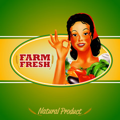 farm fresh banner woman green