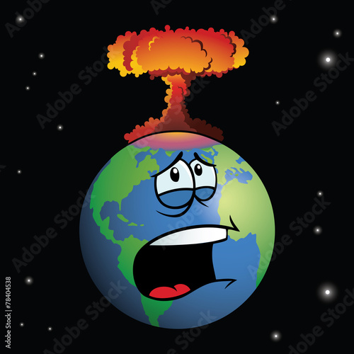 Nuclear weapon exploding on cartoon Earth - 78404538