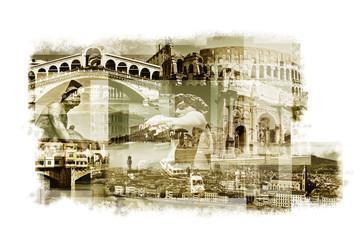 multiple exposures of different italian landmarks