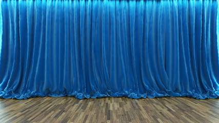 3d rendering theater stage with blue curtain and wooden floor