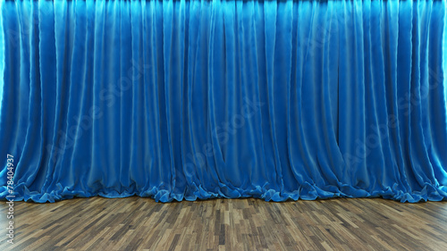3d rendering theater stage with blue curtain and wooden floor - 78404937